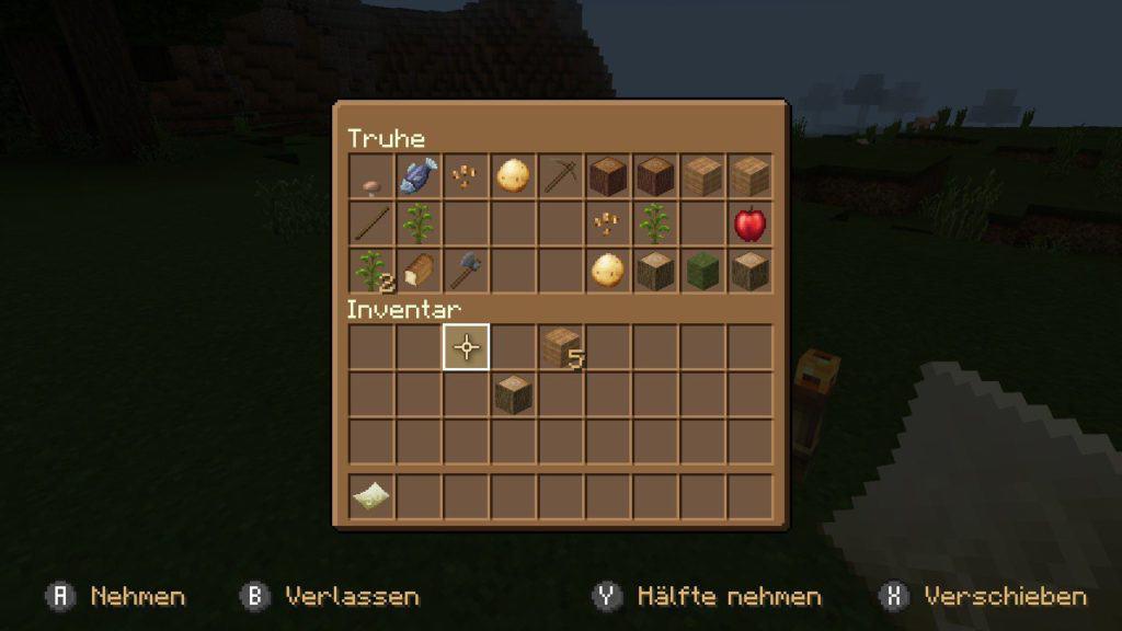 Das Inventar in Minecraft auf Nintendo Switch